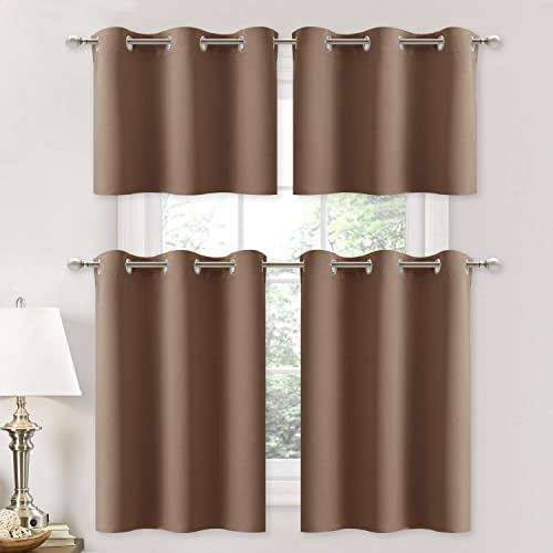 NICETOWN Blackout Curtains for Nursery – Thermal Insulated Light Reducing Drapes for Half Window 1 Pair, 29W by 36L 1.2 inches Header, Cappuccino