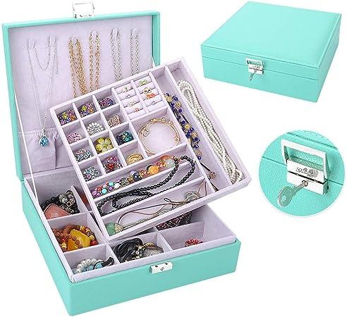 Cajas para Joyas Caja de joyería para mujeres de las mujeres Organizador de joyas de cuero para anillos Pendientes Collar Pulseras Diversos compartimentos para guardar todo tipo de joyas Organizador d: Amazon.es: