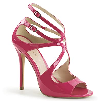 Womens Glossy 5 Inch Hot Pink Heels Unique Strappy Single Sole Sandal Shoes  Size  5 b5b2f2f9d