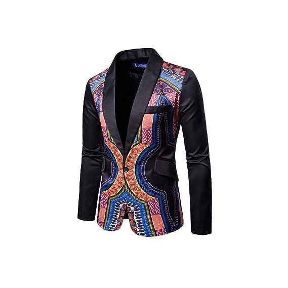 518512b6ea Meihuida Men Blazer Jacket, Men's Fashion Ethnic Style African Print  Dashiki Jacket Coat Casual Business Blazer
