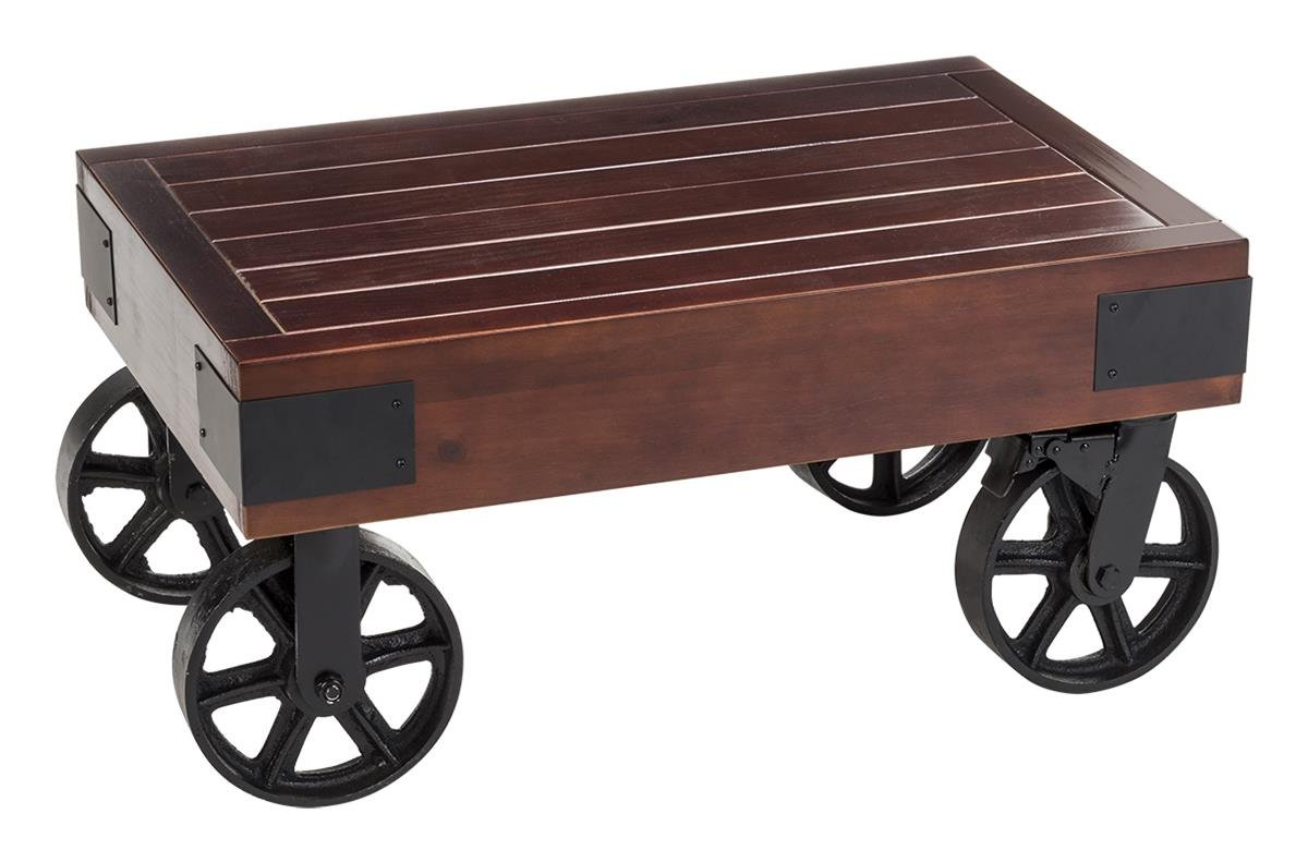 Displays2go, Rustic Display Table with Wheels, Metal, Wood, and Cast Iron Construction - Black, Mahogany (WHLTBLBK30)