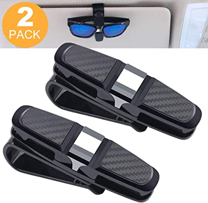 Car Glasses Holders Glasses Mount Sun Visor Clips Car Sunglasses Eyeglasses Ticket Card Mount Black