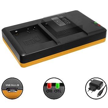 Cargador doble (Corriente, USB) para Panasonic DMW-BLE9(E), BLG10(E) / DMC-GF6, GX7, GX80,TZ91, TZ101 ... / Leica BP-DC15 | Fuente de alimentación ...