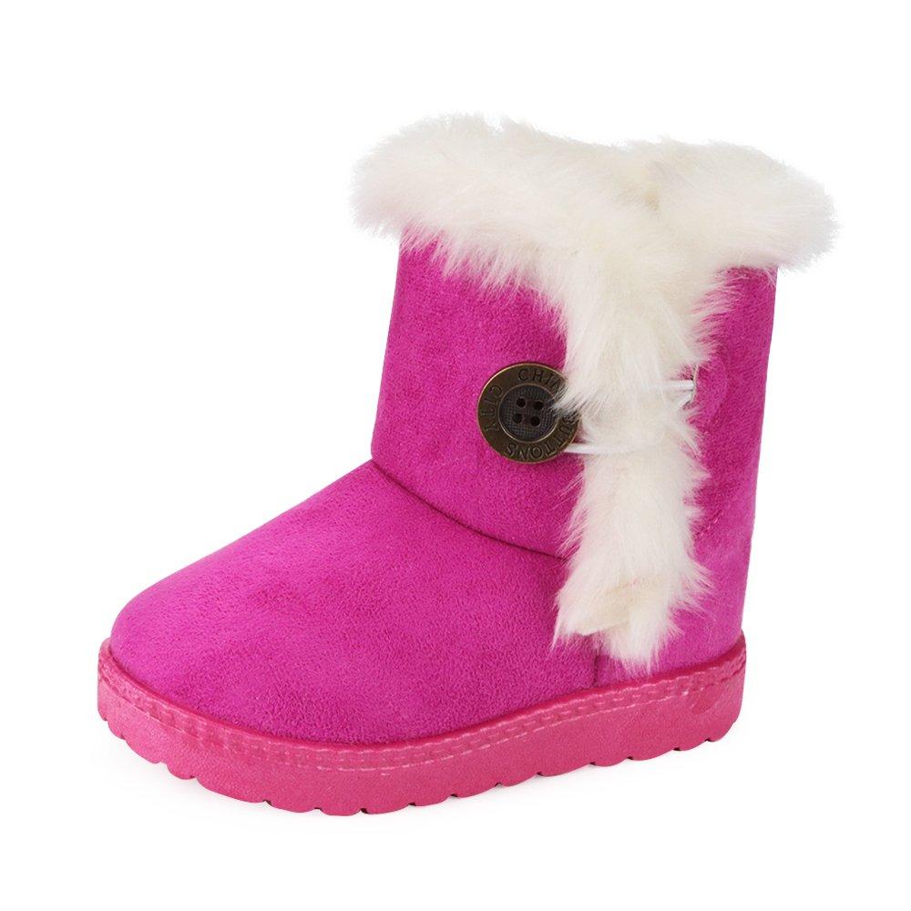AARDIMI Bottes de Neige pour Enfant Chaud Hiver Chaussures Fille Bébé Fourrure Doublé Antidérapant Sole Souple Bottes d'hiver
