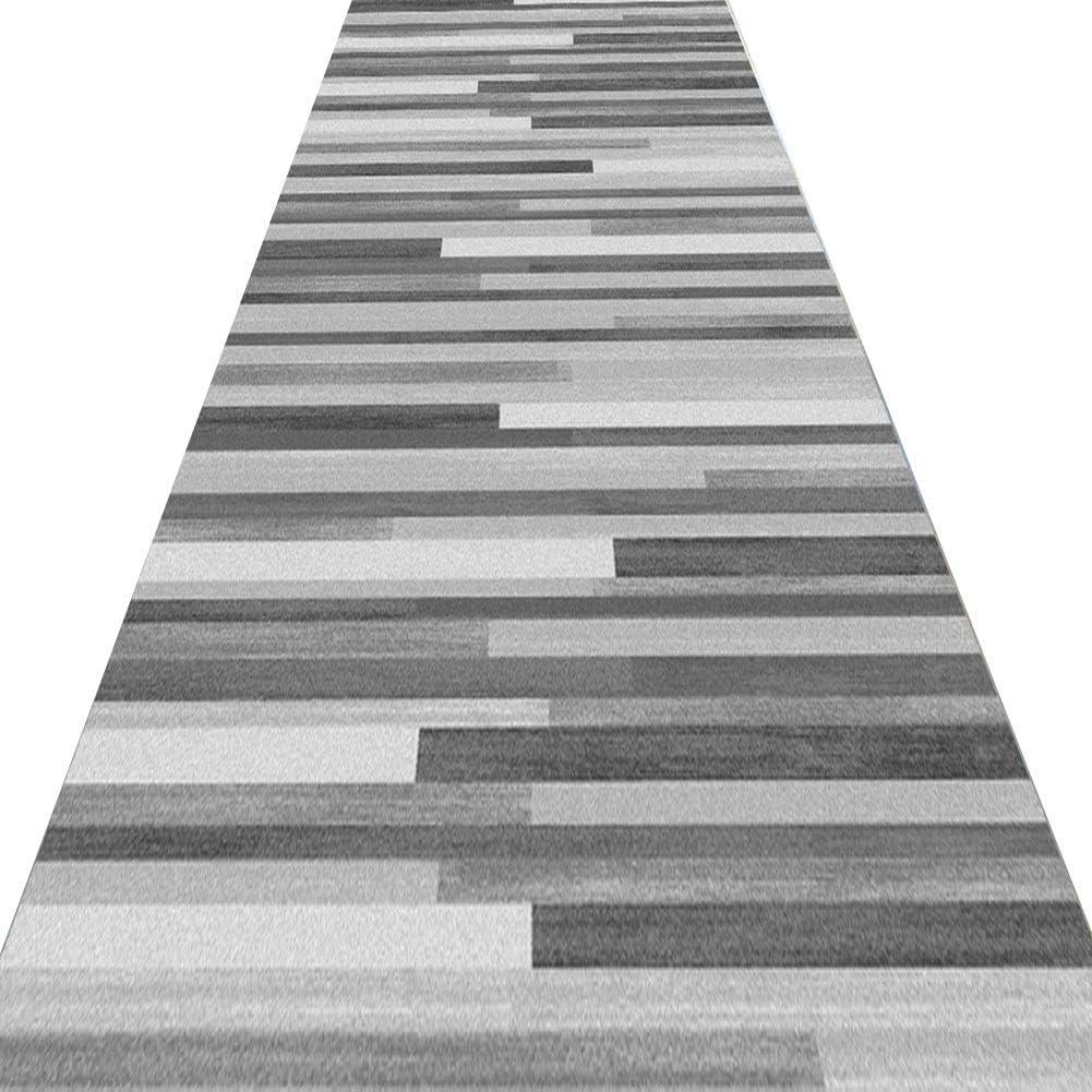 Alfombras De Pasillo Largo Entrada Felpudos Moqueta Corredor, Alfombra Lavable de Rayas Grises para Sala de Estar, Dormitorio y Cocina, Tamaño Personalizado (Color : A, Size : 140x400cm)
