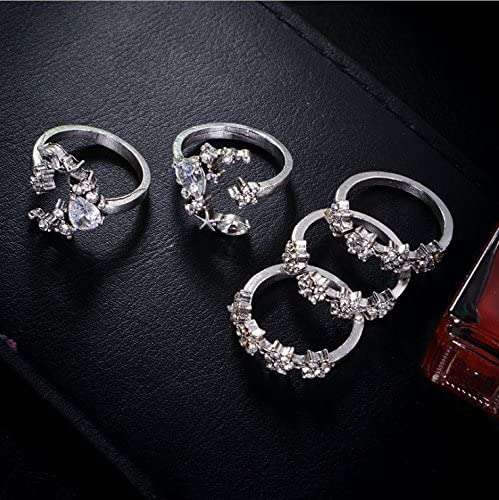 tophoenix Women`s Fashion Knuckle Ring Set with Rhinestone