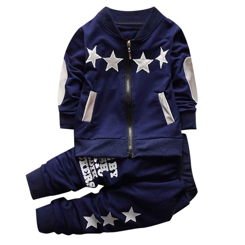 Conjuntos Bebe Niño Invierno, Zolimx Bebé Niña Newborn Baby Cremallera Estrellas Jersey Tops + Pantalones para Recien Nacido Ropa de Bautizo