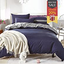 Uozzi Bedding Duvet Cover Set Queen Full, 3PC Reversible with Brushed Microfiber, Soft, Comfortable , Lightweight, Durable(Navy & Gray, Queen)