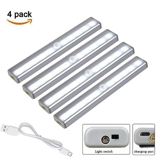 Luz nocturna, sensor de movimiento LED PIR, luz de gabinete recargable USB, diseño