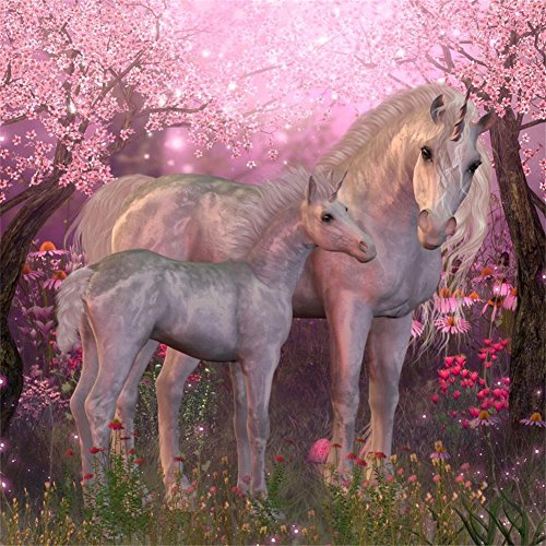 AOFOTO 10x10ft Holy Unicorns In Forest Backdrop Fairy Tale Horse Horn Photography Background Dreamy Wonderland Flower Florets Photo Studio Props Vinyl Wallpaper Drop Girl Kid Child Artistic Portrait -