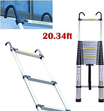 Escalera telescópica de aluminio con ganchos desmontables, multiusos, plegable de 15 escalones, carga 150 kg: Amazon.es: Bricolaje y herramientas