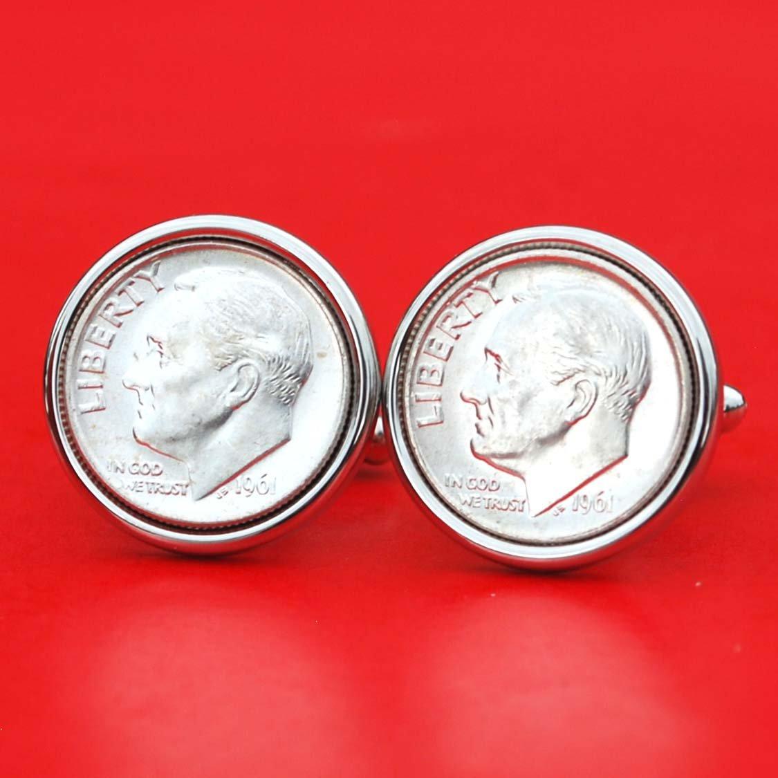 US 1961 Roosevelt Dime Gem BU Uncirculated 90% Silver 10 Cent Coin Cufflinks NEW