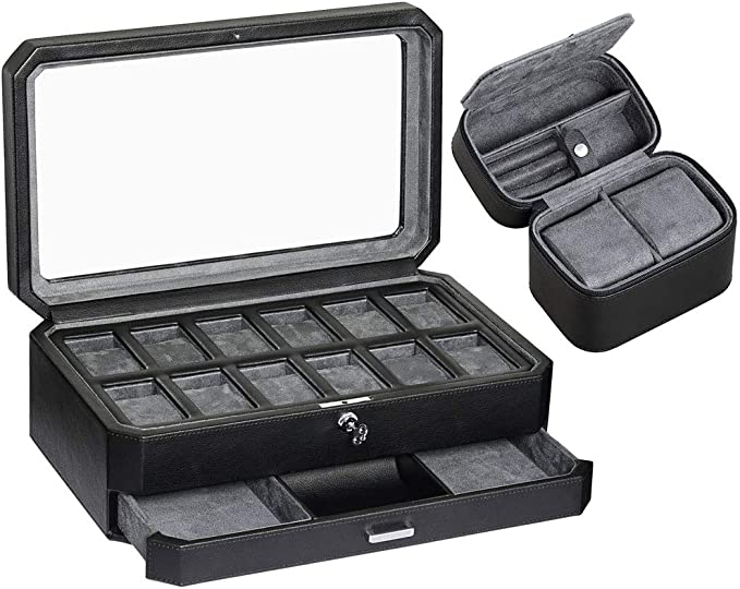 8 Slot Portable Watch Box Travel Case Storage Holder with