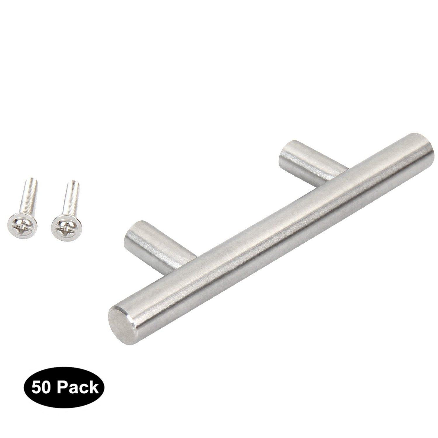 50pack Solid Brushed Stainless Steel T Bar Kitchen Cabinet Door Handles Drawer Pull Knobs Overall Length:100mm-4in,Hole Centers:64mm-2.5in