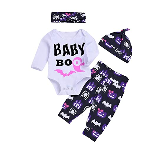 6831223b Hatoys 3PCS Halloween Costume Cute Baby Girls Boys Letter Baby Bo Romper  Tops+ Pumpkin Spider Pants