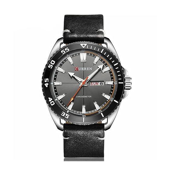 Curren Mens Relojes de primeras marcas de lujo de cuero resistente al agua reloj militar deportes relojes hombres reloj de pulsera de hombre: Amazon.es: ...