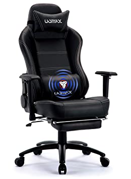 UOMAX Chaise De Gamer Massage Ergonomique Fauteuil Ordinateur Gaming Confortable Racing Inclinable Avec Support Lombaire