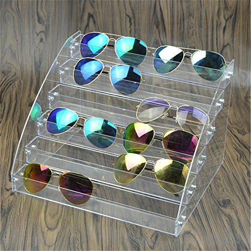 MineDecor 12 Piece Plastic Sunglasses Organizer Clear Eyeglasses Display Case 6 Tier Eyewear Storage Tray Box for Glasses Tabletop Holder ()