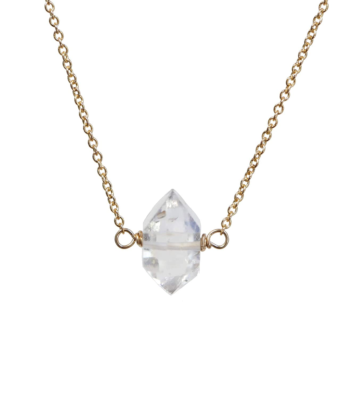 Dainty silver Herkimer diamond necklace  Herkimer diamond jewellery  April birthstone jewellery  Gift for her