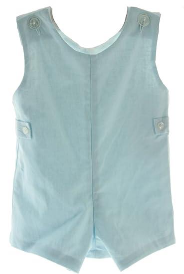 b9c2a742b Amazon.com  Boys Blue Linen John John Romper Outfit Monogrammable ...