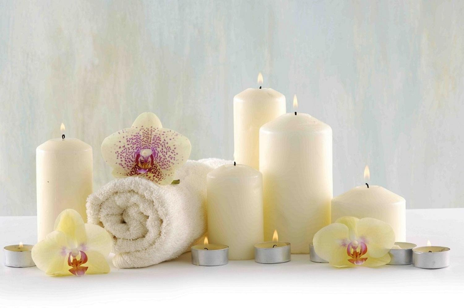 Northlight LED Lighted Candle Orchid Spa Inspired Canvas Wall Art 11.75'' x 15.75''