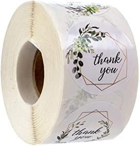 Thank You Stickers Roll Greenery Frames Deisgn, 1inch 1000PCS Green Leaf Self-Adhesive Thank You Labels for Wedding, Food Packaging, Gift Bags, Small Business Stickers