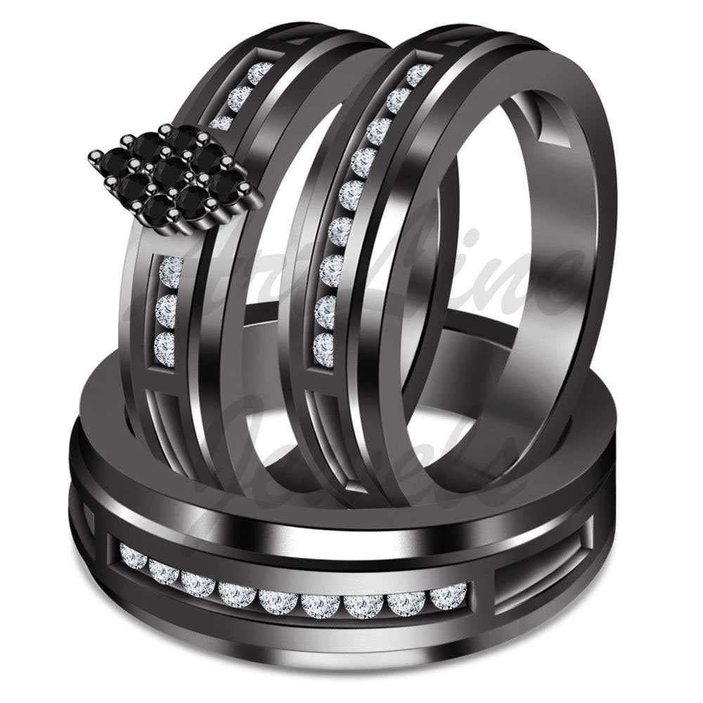 ArtLine Jewels 2.00 Ctw Black & White Trio Set Engagement Ring Wedding Band His And Her