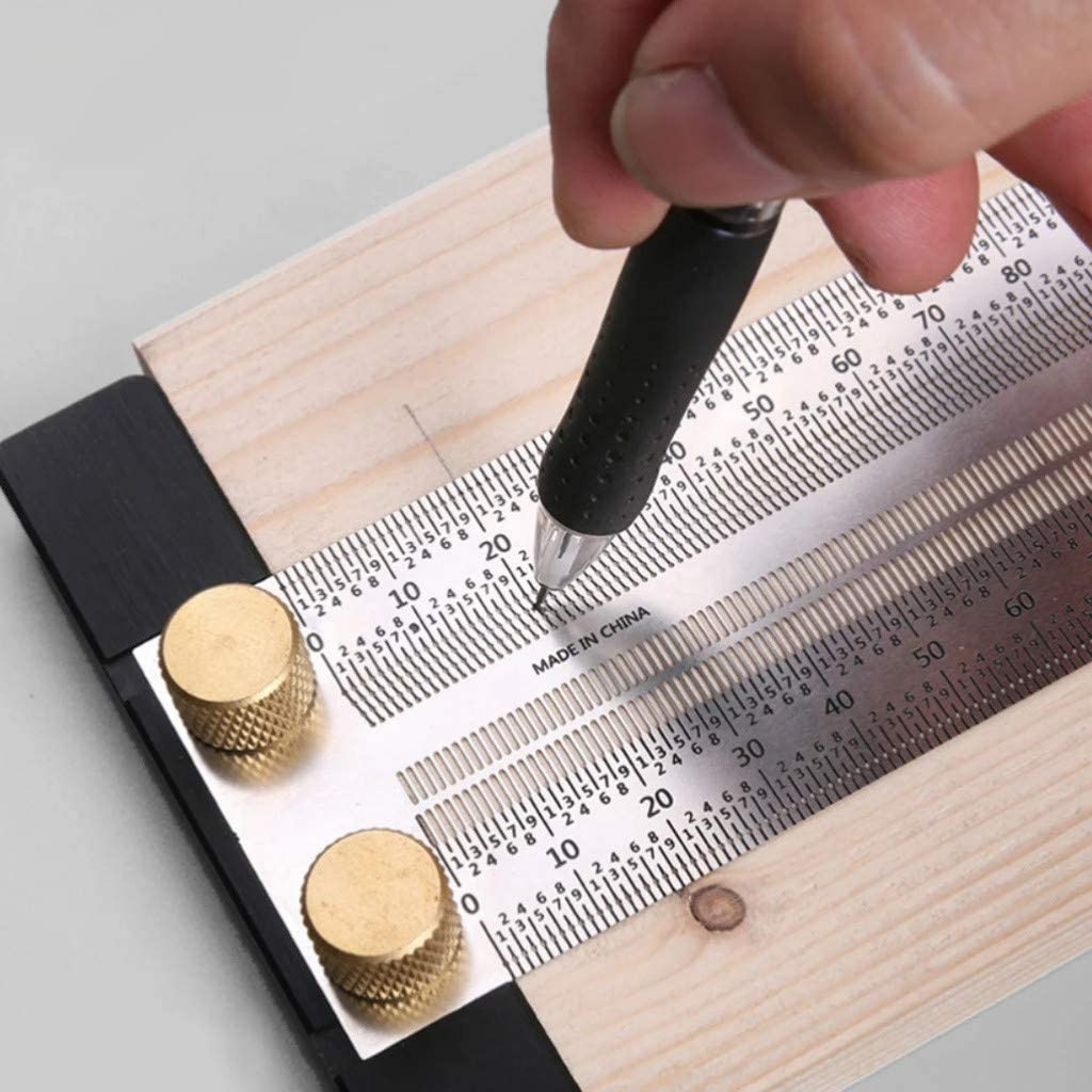 Precision Tiny T-Rule,Stainless Woodworking Flexible Scribing Mark Carpenter Line Measuring Tool Ultra Precision Marking Ruler for School Office Engineering 180mm