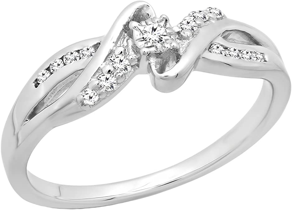 Details about  /925 Sterling Silver Bridal Engagement Ring 0.15 ct Genuine Black /& White Diamond