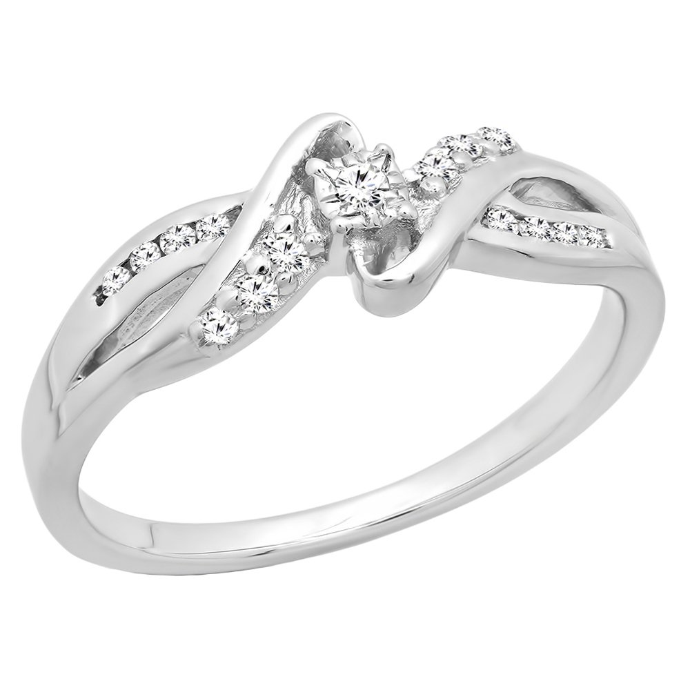 0.15 Carat (ctw) Sterling Silver Round Diamond Bypass Split Shank Ladies Promise Ring (Size 10)