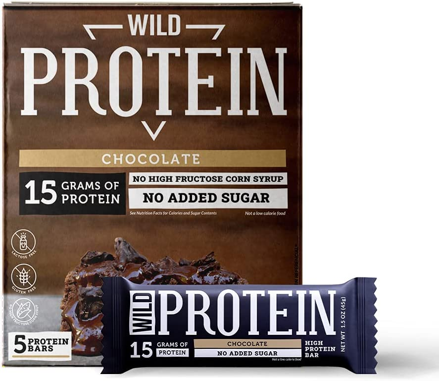 Wild Protein Bars, High Protein Bars, No Added Sugar, No High Fructose Corn Syrup, Gluten Free, Perfect Breakfast Bars - Healthy & Nutritious Snacks (Chocolate, 5 Bars)