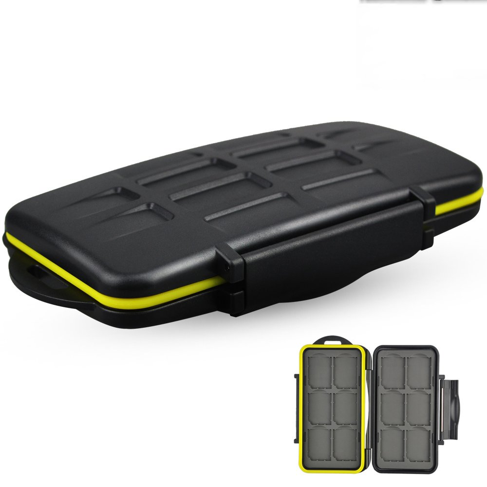 JJC Camera Memory Card Case SD Card Case Holder Organizer Box Keeper for 12 SD Cards Water-Resistant Portable Durable