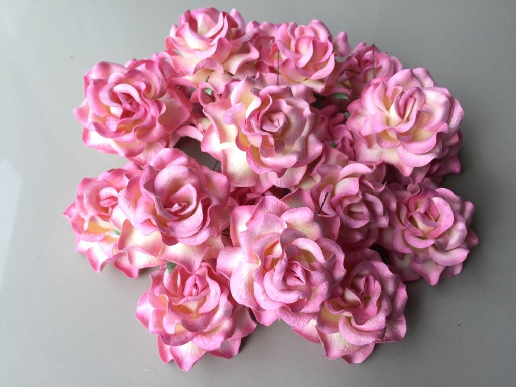 Amazon 12 Pcs Big Rose Pink Color Mulberry Paper Flower 50 55