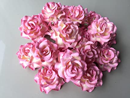 12 Pcs Big Rose Pink Color Mulberry Paper Flower 50 55 Mm Scrapbooking Wedding Dollhouse Supplies Card By Thai Decorated