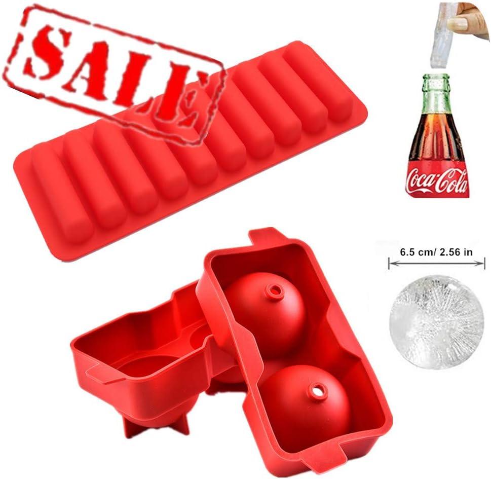 Bandejas de cubitos de hielo de silicona 2, gran esfera maker con tapa + palo de hielo bandeja, reutilizable & BPA free, molde redondo hace XXL bolas de hielo para Whiskey Scotch