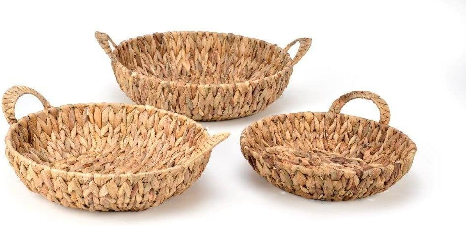 Trademark Innovations Set of 3 Round Hyacinth Baskets with Handles