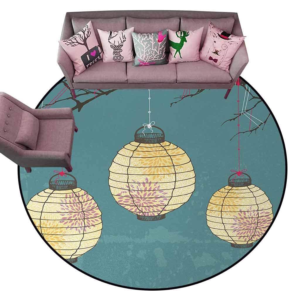 Living Room Bedroom Carpets Lantern,Three Paper Lanterns Hanging on Branches Lighting Fixture Source Lamp Boho,Teal Light Yellow Diameter 66'' Round Area Rugs