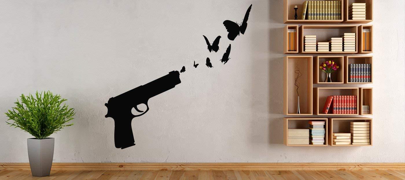 Weapon Gun Bullet Shot  Bandit  Wall Decal Window Sticker Design Handmade 4707