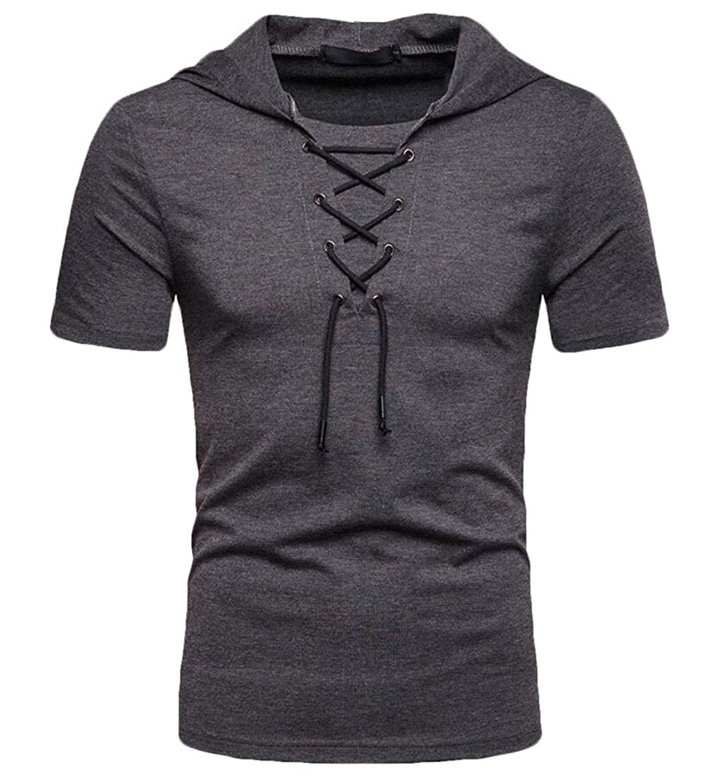 CYJ-shiba Mens Tie-Knot Short Sleeve Solid with Hood Stylish Hip-Hop T-Shirt