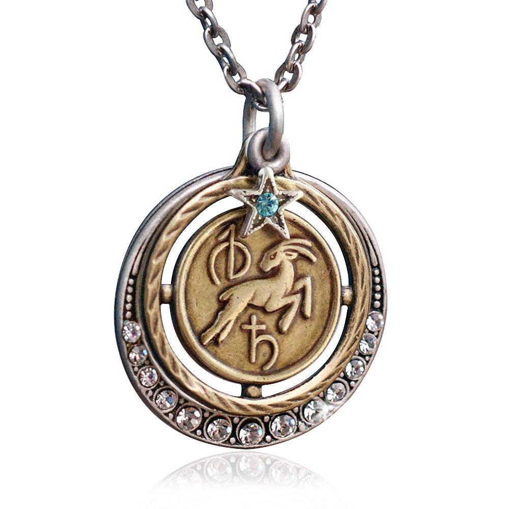 Amazon.com: Sweet Romance Aquarius Zodiac Sign Astrology Pendant ...