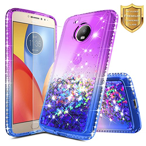 Moto E4 Case w/[Tempered Glass Screen Protector], NageBee Glitter Liquid Quicksand Waterfall Floating Flowing Sparkle Shiny Bling Diamond Girls Cute Case for Motorola Moto E 4th Gen -Purple/Blue