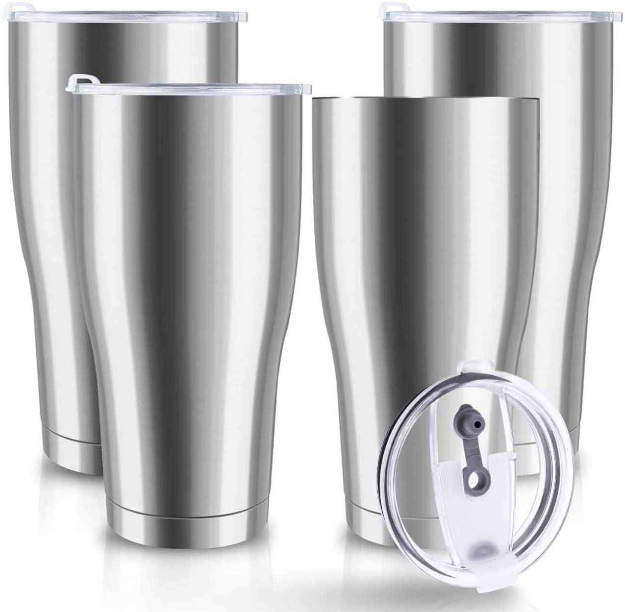 XccMe 30 oz Stainless Steel Tumbler with Lid,4 Pack Double Wall Vacuum Insulated Travel Mug, Durable Insulated Tumbler for Gift, Coffee, Tea, Beverages (Silver 4)