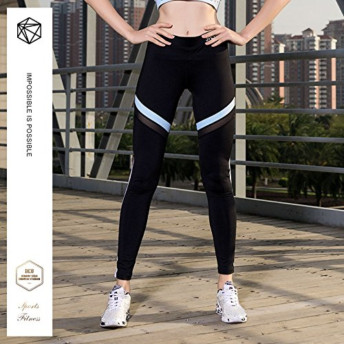 Corsa 02 Nero Strechy Sports Womens Fitness Yoga Wicking Vita Pantaloni Alta Leggings Da Oaq7qwTv