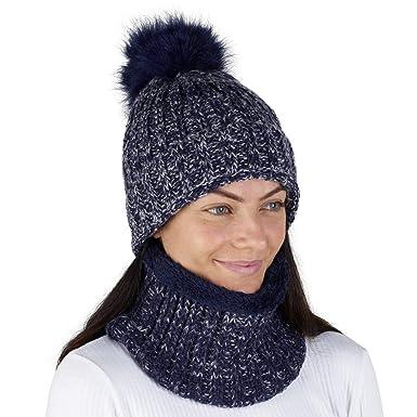 CityComfort Gorras Invierno Mujer Bufanda Invierno Calentador de Cuello Accesorios de Ski Niña Mujeres (Azul Marino de Dos Tonos A146): Amazon.es: Ropa y ...