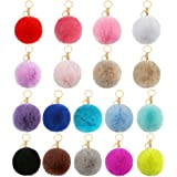 Auihiay 18 Pieces Pom Poms Keychains Fluffy Pompoms Keychain Faux Rabbit Fur Pompoms Keyring