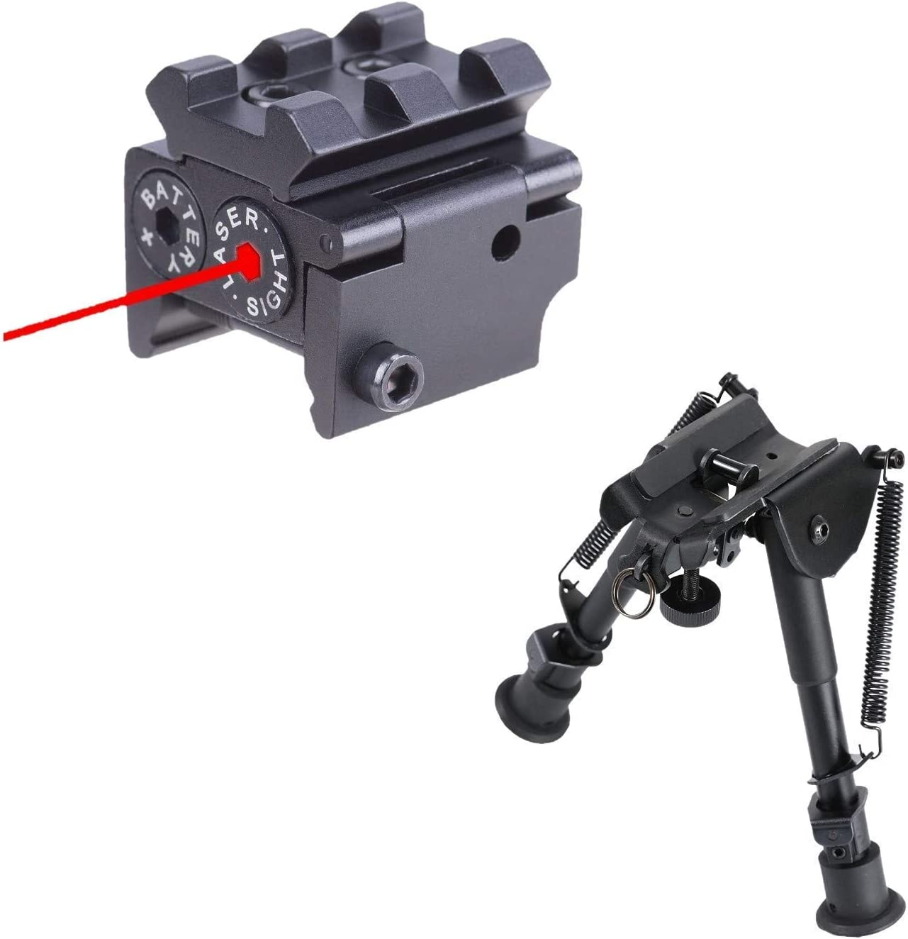 Pinty Red Laser Red Dot Sight Waterproof Military Grade Low Profile Compact & Tactical Rifle Bipod Keymod System Adjustable 6-9 Inch Height