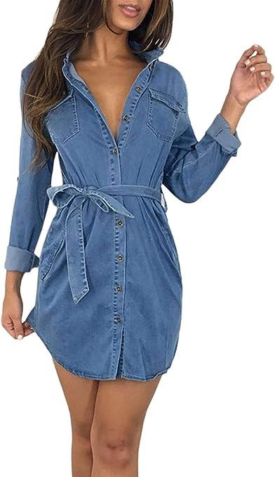 HhGold Vestido de Camisa de Mezclilla para Mujer Primavera Otoño Casusl con cinturón Mini Vestidos (Color : Azul Claro, tamaño : SG): Amazon.es: Hogar