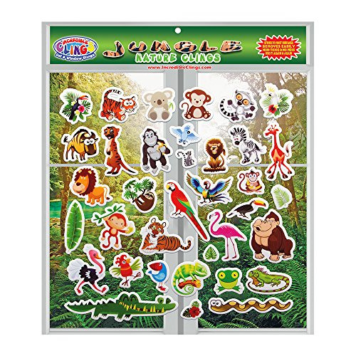 Jungle Wildlife (by Incredible Gel and Window Clings) 36 Reusable Puffy Stickers for Kids and Toddler Rooms, Windows, Walls, Bedrooms, Plane Travel - Monkeys, Lions, Tigers, Gorillas, Snakes + More!