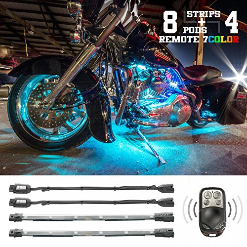 8 Compact Pods + 4 Flex Strips 7 Color Remote Control Motrocycle ATV Snowmobile LED Light Kit ()