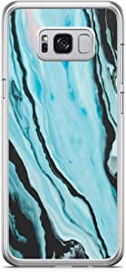 Samsung Galaxy S8 Transparent Edge Phone Case Blue Dark Marble Phone Case Womens Phone Case Marble Blue